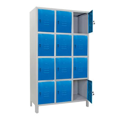 Armadio Casellario Monoblocco L 100 x P 50 x H 179.5 cm blu e grigio
