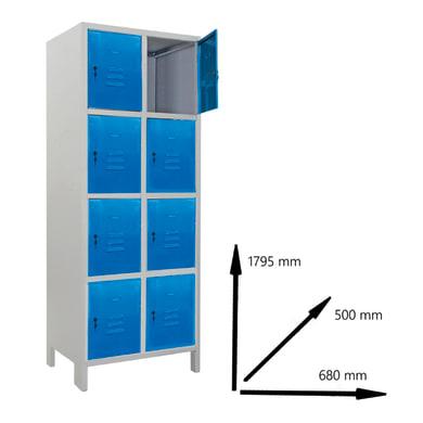 Armadio Casellario Monoblocco L 68 x P 50 x H 179.5 cm blu e grigio