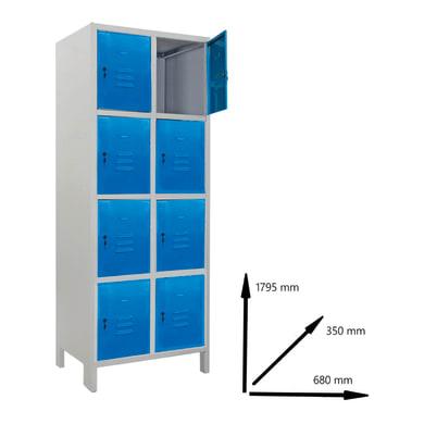 Armadio Casellario Monoblocco L 68 x P 35 x H 179.5 cm blu e grigio