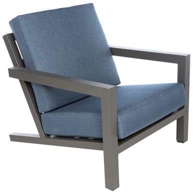 Poltrona da giardino con cuscino  in alluminio Indianapolis colore struttura grigio antracite, cuscini blu
