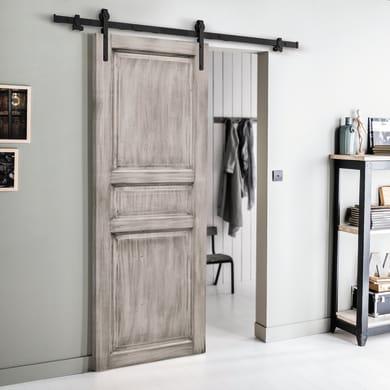 Porta scorrevole con binario esterno Beethoven in legno grezzo Kit Factory L 86 x H 215 cm