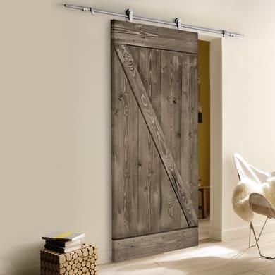 Porta scorrevole con binario esterno Horse in legno Kit Toledo L 86 x H 215 cm