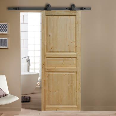 Porta scorrevole con binario esterno Beethoven in legno grezzo Kit Indus L 96 x H 215 cm