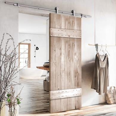 Porta scorrevole con binario esterno Barn Wengé in legno verniciato Kit Toledo L 86 x H 215 cm