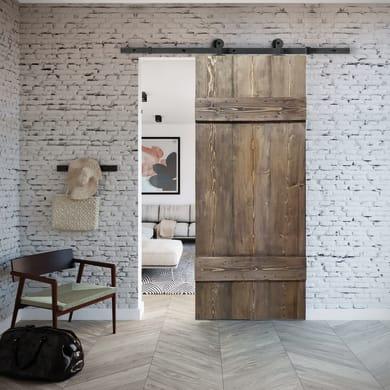 Porta scorrevole con binario esterno Barn Ebano in legno verniciato Kit Indus L 86 x H 215 cm