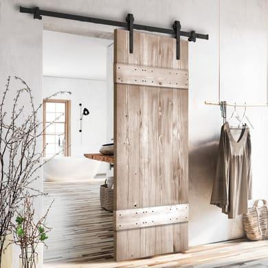 Porta scorrevole con binario esterno Barn Wengé in legno verniciato Kit Factory L 86 x H 215 cm