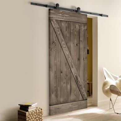 Porta scorrevole con binario esterno Horse in legno Kit Indus L 86 x H 215 cm