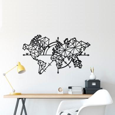 Decorazione da parete World Map Nero 100x60 cm