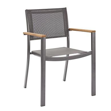 Sedia con braccioli senza cuscino in alluminio<multisep/>legno Oris NATERIAL colore naturale