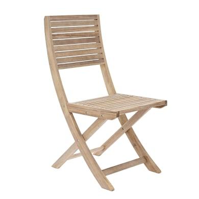 Sedia da giardino senza cuscino pieghevole in legno Solaris NATERIAL colore naturale