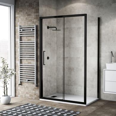 Box doccia rettangolare 1 anta fissa + 1 anta scorrevole Record 120 x 90 cm, H 195 cm in vetro temprato, spessore 6 mm trasparente nero