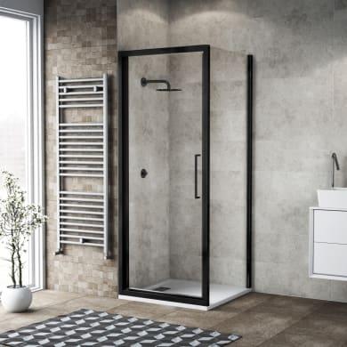Box doccia angolare con porta a battente e lato fisso quadrato Record 70 x 70 cm, H 195 cm in vetro temprato, spessore 6 mm trasparente nero