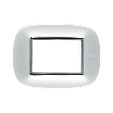 Placca BTICINO Axolute 3 moduli argento satinato