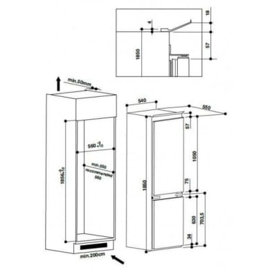 Frigorifero a incasso frigorifero combinato HOTPOINT BCB 7525 AA destra