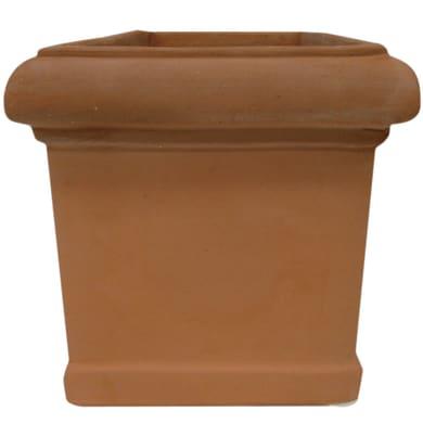 Vaso Cubo liscio in terracotta colore cotto H 33 cm, L 40 x P 40 cm