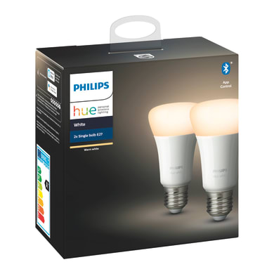 Set di 2  lampadine LED, HUE WHITE BLUETOOTH, E27, Goccia, Opaco, Luce calda, 9W=806LM (equiv 60 W), 150° , PHILIPS HUE