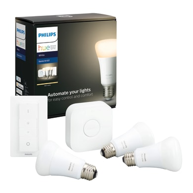 Set di 3  lampadine LED, HUE WHITE BLUETOOTH + BRIDGE + DIMMER, E27, Goccia, Opaco, Luce calda, 9W=806LM (equiv 60 W), 150° , PHILIPS HUE