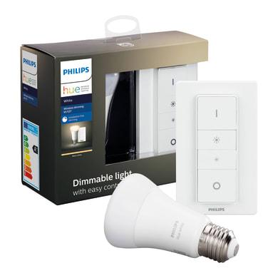 Lampadina smart lighting LED, HUE WHITE BLUETOOTH + TELECOMANDO, E27, Goccia, Opaco, Luce calda, 9W=806LM (equiv 60 W), 150° , PHILIPS HUE