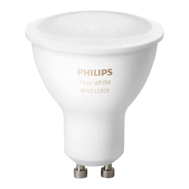 Lampadina smart lighting LED, HUE COLOR BLUETOOTH, GU10, Faretto, Trasparente, RGB, 5.7W=350LM (equiv 50 W), 43° , PHILIPS HUE