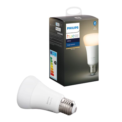 Lampadina smart lighting LED, HUE WHITE BLUETOOTH, E27, Goccia, Opaco, Luce calda, 9W=806LM (equiv 60 W), 150° , PHILIPS HUE