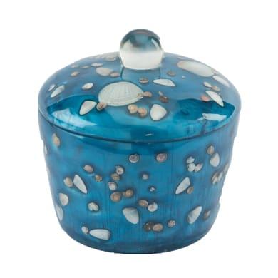 Porta cotone Antille in resina azzurro
