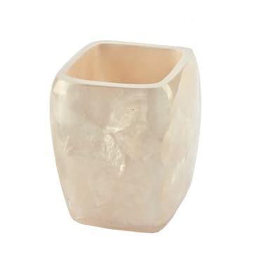 Bicchiere porta spazzolini Perla in resina avorio