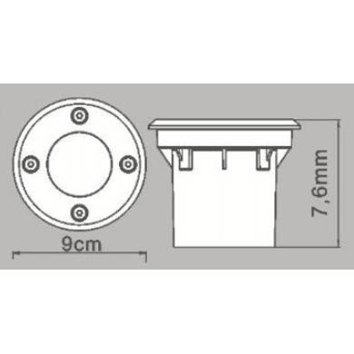 Faretto fisso da incasso tondo LED integrato in alluminio, inox,  diam. 9 cm 9x7.6cm IP67 INSPIRE