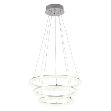 Lampadario Shokia bianco, cromo, in metallo, diam. 60 cm, LED integrato 25W 6600LM IP20 INSPIRE