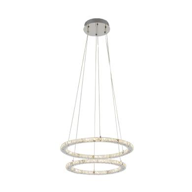 Lampadario Shoshone acciaio, trasparente, in cristallo, diam. 54 cm, LED integrato 33W 3840LM IP20 INSPIRE