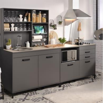 Cucina in kit moove grigio L 246 cm