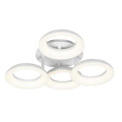 Plafoniera moderno Kuy LED integrato bianco, in alluminio,  D. 62 cm 4  luci INSPIRE
