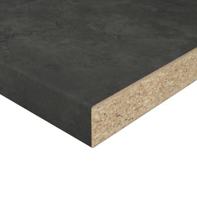 Piano cucina in laminato grigio antracite L 246 x P 63.5 cm, spessore 3.8 cm