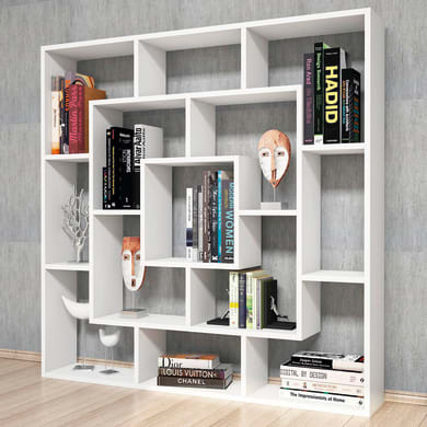 Libreria Frame L 125 x P 20 x H 125 cm bianco