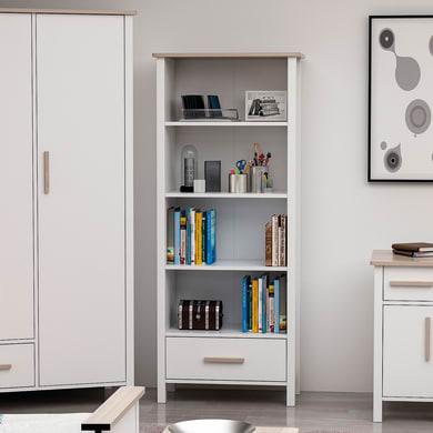 Libreria Luna 4 ripiani L 72 x P 33 x H 192 cm bianco