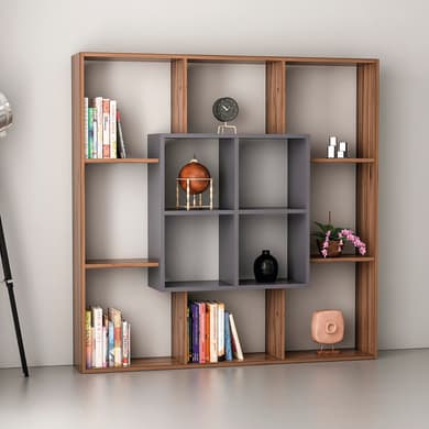 Libreria Leef 9 ripiani L 136 x P 22 x H 136 cm legno