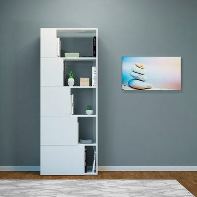 Libreria Skipper 5 ripiani L 65 x P 22 x H 166 cm bianco