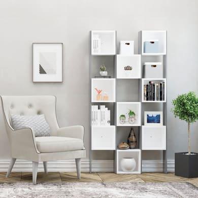 Libreria Borneo 6 ripiani L 97 x P 20 x H 180 cm bianco