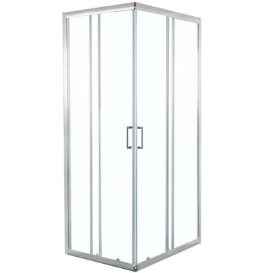 Box doccia rettangolare scorrevole Splash 80 x 100 cm, H 190 cm in vetro temprato, spessore 6 mm trasparente cromato