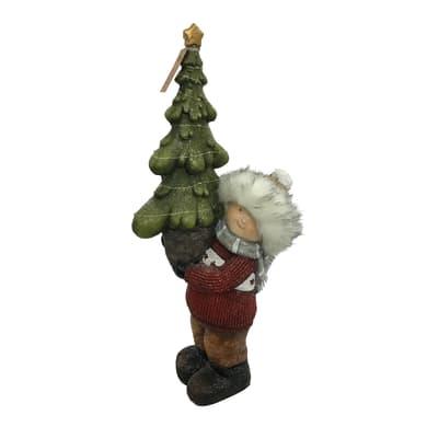 Bambino con albero in resina H 60 cm, L 18 cm  x P 27 cm