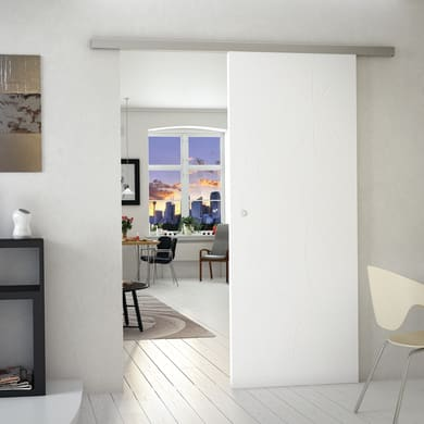 Porta scorrevole con binario esterno Renoir in mdf Kit Alu legno L 212 x H 5 cm