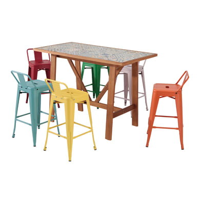 Set tavolo e sedie Soho Ceramica in acacia multicolore 6 posti