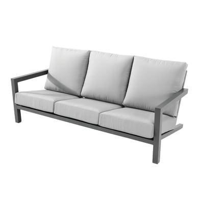 Divano da giardino con cuscino 3 posti in alluminio Indianapolis colore nero