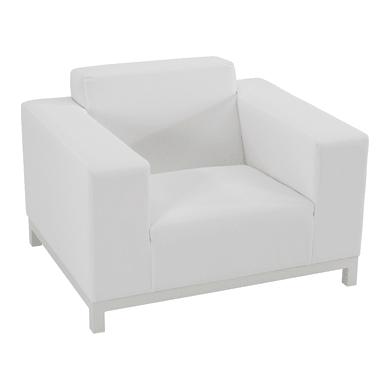 Poltrona da giardino con cuscino  in alluminio Atlanta colore bianco