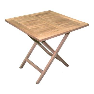 Tavolo da giardino quadrato con piano in legno L 80 x P 80 cm