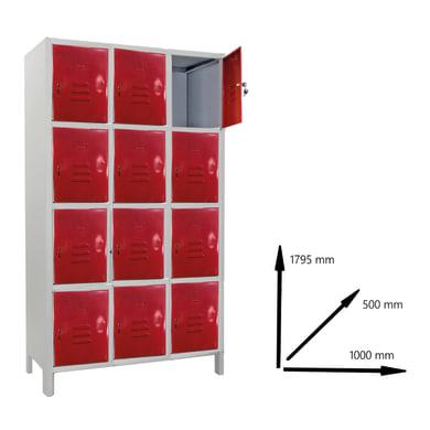Armadio Casellario Monoblocco L 100 x P 50 x H 179.5 cm grigio e rosso