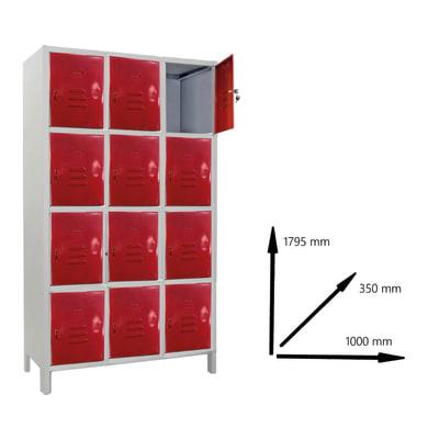 Armadio Casellario Monoblocco L 100 x P 35 x H 179.5 cm grigio e rosso