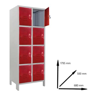 Armadio Casellario Monoblocco L 68 x P 50 x H 179.5 cm grigio e rosso