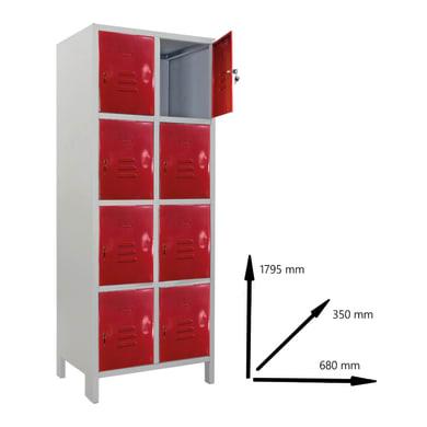 Armadio Casellario Monoblocco L 68 x P 35 x H 179.5 cm grigio e rosso