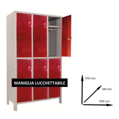 Armadio Spogliatoio Monoblocco L 100 x P 50 x H 179.5 cm grigio e rosso