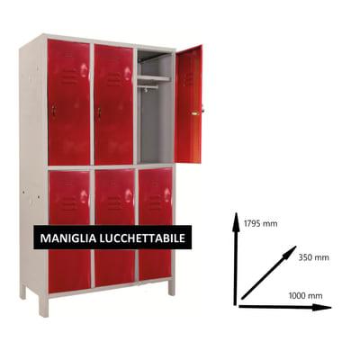Armadio Spogliatoio Monoblocco L 100 x P 35 x H 179.5 cm grigio e rosso
